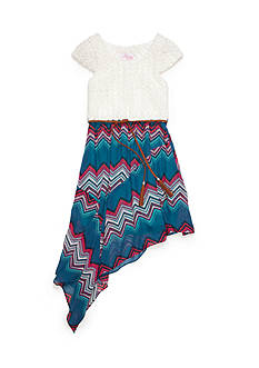 Bloome Asymmetrical Chevron Water Color Belted Tee Shirt Dress Girls 7-16