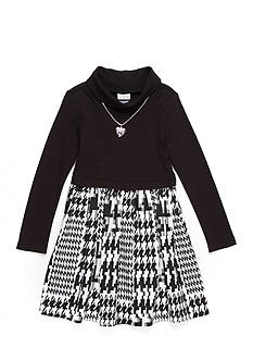 Sweet Heart Rose Turtleneck Houndstooth Dress Girls 4-6x