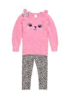 Sweet Heart Rose Kitty Sweater Set Girls 4-6x