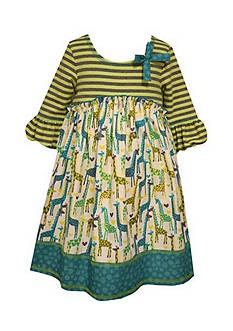 Bonnie Jean Giraffe Mixed Media Dress Girls 4-6x