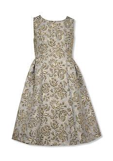 Bonnie Jean Metallic Toile Brocade Dress Girls 4-6x