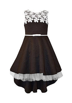 Bonnie Jean Rose Jacquard High Low Dress Girls 7-16
