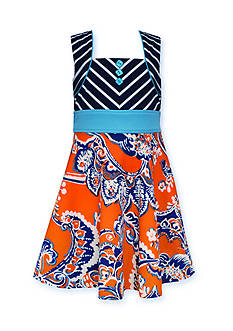 Bonnie Jean Stripe to Paisley Print Dress Girls 7-16