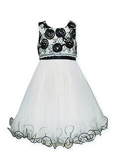 Bonnie Jean Sequin Flower Wire Hem Dress Girls 7-16