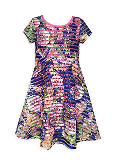 Bonnie Jean Novelty Stripe Floral Dress Girls 7-16