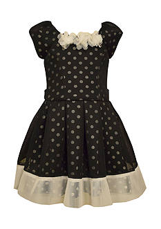 Bonnie Jean Dot Mesh Pleated Dress Girls 7-16