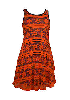 Bonnie Jean Floral Stripe Lace Skater Dress Girls 7-16