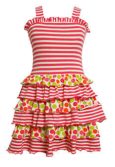 Bonnie Jean Stripe and Dot Knit Tiered Dress Girls 4-6X