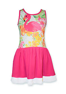 Bonnie Jean Flamingo Sequin Dress Girls 4-6x