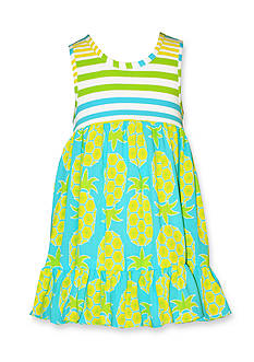 Bonnie Jean Stripe Pineapple Challis Dress Girls 4-6x