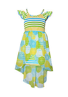 Bonnie Jean Stripe Floral Chiffon Overlay Dress Girls 4-6x