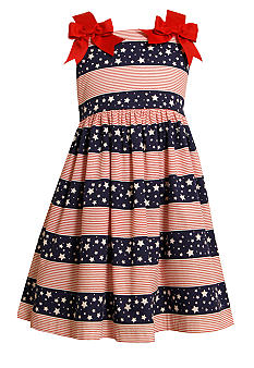 Bonnie Jean Stars and Stripes Bow Dress Girls 4-6X