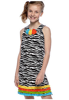 Bonnie Jean Zebra Flower U-Neck Dress Girls 7-16
