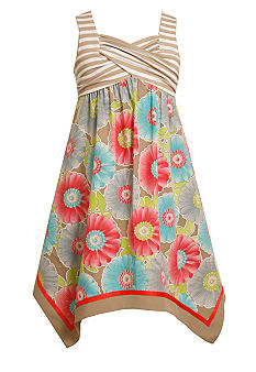 Bonnie Jean Stripe Floral Maxi Dress Girls 7-16