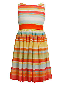 Bonnie Jean Chiffon Multi-Stripe Dress Girls 4-6X
