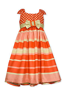 Bonnie Jean Polka Dot to Stripe Shantung Dress Girls 4-6x