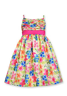 Bonnie Jean Floral Lattice Shantung Dress Girls 4-6x