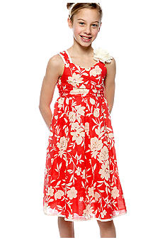 Bonnie Jean Floral Linen Dress Girls 7-16