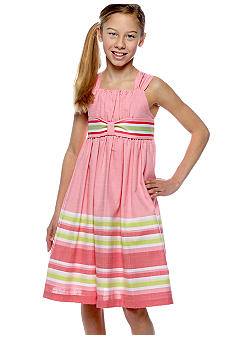 Bonnie Jean Striped Linen Dress Girls 7-16