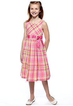Bonnie Jean Plaid Pull Through Dress Girls 7-16
