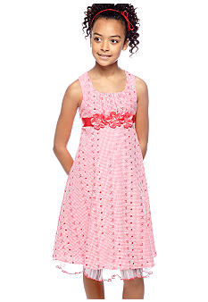 Bonnie Jean Rose Eyelet Square Neck Dress Girls 7-16