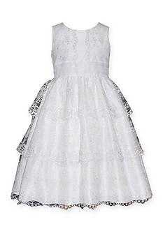Bonnie Jean Sleeveless Tiered Embroidered Communion Dress Girls 7-16