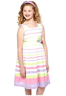 Bonnie Jean Stripe Linen Dress Girls Plus