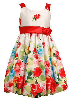Bonnie Jean Floral Bubble Hem Dress Girls Plus