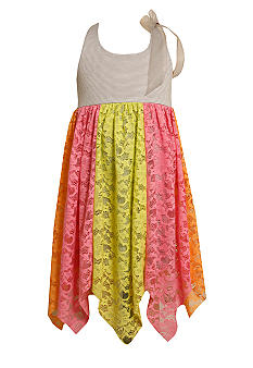 Bonnie Jean Pieced Lace Neon Dress Girls 4-6X