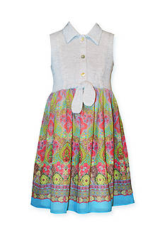 Bonnie Jean Solid to Printed Chiffon Dress Girls 4-6x