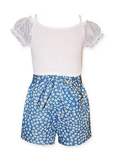 Bonnie Jean Solid to Printed Chambray Romper Girls 4-6X