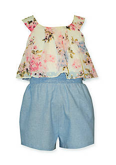 Bonnie Jean Floral Popover Chambray Romper Girls 4-6x