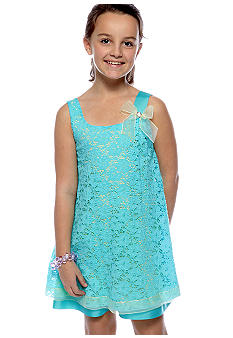Bonnie Jean Lace Overlay U-Neck Dress Girls 7-16