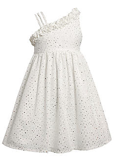 Bonnie Jean Sparkle One Shoulder Eyelet Dress Girls 7-16