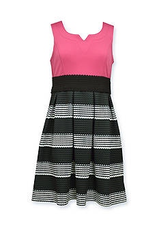 Bonnie Jean Solid Knit to Stripe Dress Girls 7-16