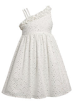 Bonnie Jean Sparkle One Shoulder Eyelet Dress Girls Plus