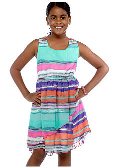 Bonnie Jean Stripe Hi Low Dress Girls Plus