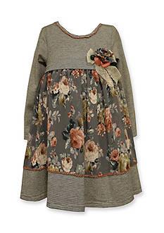 Bonnie Jean Chiffon Mixed Floral and Stripe Dress Girls 4-6x