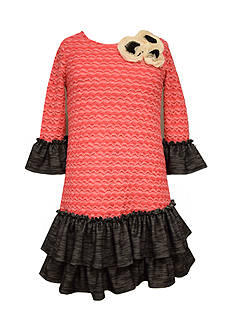 Bonnie Jean Knit Bell Sleeve Ruffle Dress Girls 7-16