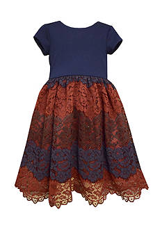 Bonnie Jean Navy Ponte Lace Waistline Dress Girls 7-16