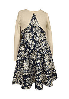 Bonnie Jean Damask Print Dress with Cardigan Girls 7-16