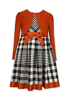 Bonnie Jean Cardigan and Plaid Dress Set Girls 7-16