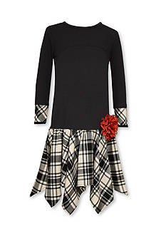 Bonnie Jean Plaid Drop Waist Dress with Red Flower Girls 7-16