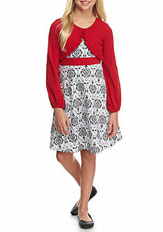Bonnie Jean Damask Print Cardigan Dress Girls 7-16