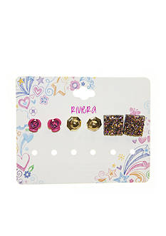 Riviera 3-Pack Rose, Stud, and Rock Stone Earring Set