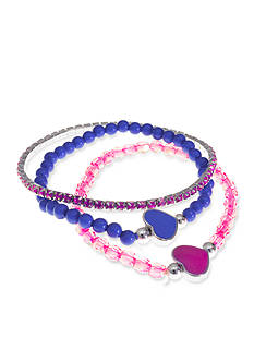 Riviera 3-Pack Beaded Heart Bracelet Set