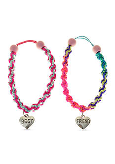 Riviera 2-Pack Best Friend Bracelets with Heart Charm Set