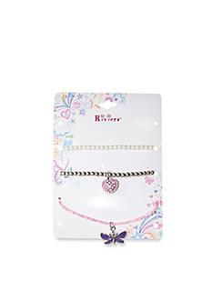 Riviera Butterfly and Heart Charm Bracelet Set