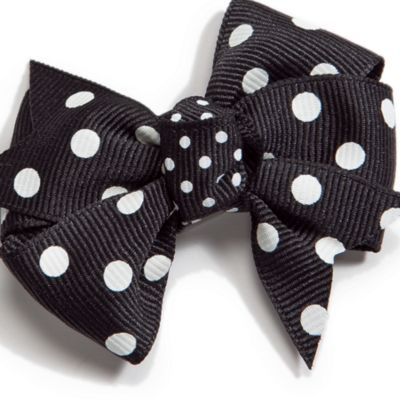 Little Girl Hair Accessories: Black Riviera Infant Small Polka Dot Bow