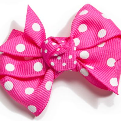 Little Girl Hair Accessories: Fuchsia Riviera Infant Small Polka Dot Bow